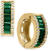 Effy Brasilica by Natural Emerald (1-1/10 ct. t.w.) and Diamond (3/8 ct. t.w.) Hoop Earrings in 14k Gold
