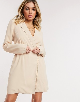 UNIQUE21 blazer dress with belt in tan