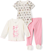 Baby Starters White & Pink Cardigan Set - Infant