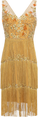 Marchesa Fringed Beaded Embroidered Tulle Dress