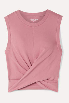 YEAR OF OURS Anne Marie Cropped Twisted Stretch Cotton-jersey Tank - Pink