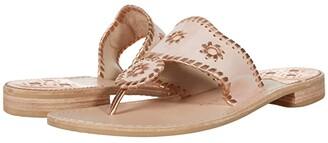 Jack Rogers Jacks Patent Leather Flat Sandal (Black/Bone) Women's Shoes