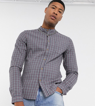 Asos Design DESIGN Tall slim fit check shirt with grandad collar in dusty blue