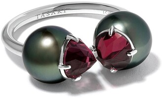 Tasaki 18kt white gold Refined Rebellon Signature garnet and South Sea pearl ring