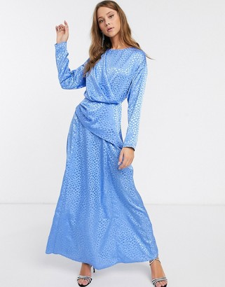 Asos Design DESIGN wrap detail maxi dress in jacquard-Blue