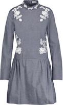 Suno Embroidered cotton-chambray mini dress