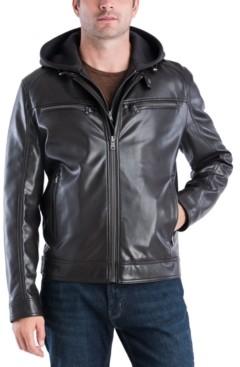 Michael Kors Men's Faux-Leather Hooded Bomber Jacket