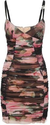 Blumarine Tulle Printed Ruched Mini Dress