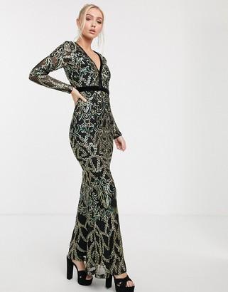 Goddiva embellished plunge neck maxi dress in emerald green