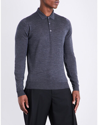 John Smedley Men's Charcoal Belper Knitted Polo Jumper, Size: L