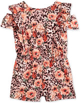 GUESS Floral-Animal-Print Off-The-Shoulder Romper, Big Girls (7-16)