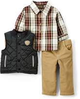 Children's Apparel Network Black Grizzly Bear Vest Set - Infant
