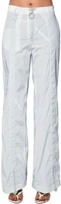Off-White Logo Print Nylon Wide Leg Pants