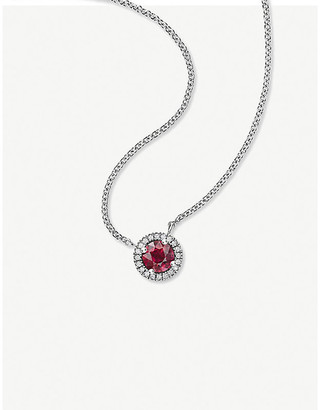 Vashi Halo platinum, 0.50ct ruby and diamond pendant necklace