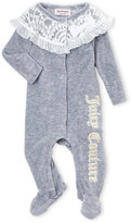 Juicy Couture Newborn Girls) Ruffle Lace-Trimmed Footie