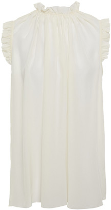 Zimmermann Ruffle-trimmed Silk Crepe De Chine Top