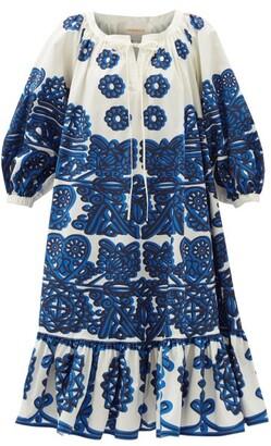La DoubleJ Embroidery-print Cotton-faille Midi Dress - Blue White