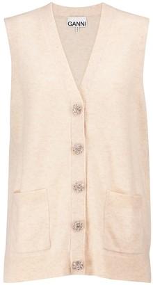 Ganni Embellished cashmere vest