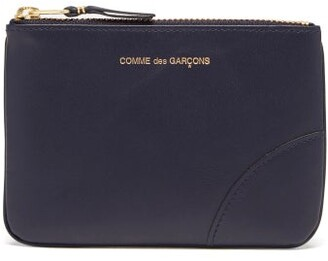 Comme des Garcons Foiled-logo Leather Coin Pouch - Navy