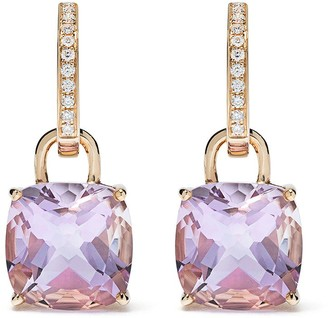 Kiki McDonough 18kt yellow gold Kiki Classics cushion cut lavender amethyst and diamond detachable hoop earrings