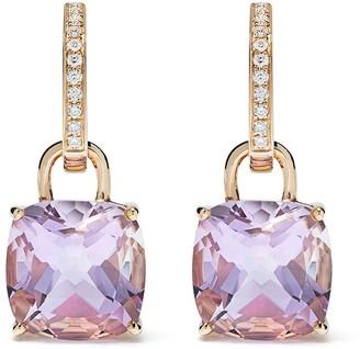 Kiki McDonough 18kt yellow gold Kiki Classics cushion cut lavender amethyst and diamond detachable hoop earrings