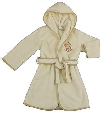 BEIGE BlueberryShop Embroidered Luxurious Hooded Bathrobe/Dressing Gown, 6-7 Years,
