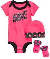 Nike Baby Girls' 3-Piece Dot Bodysuit, Hat & Booties Set (0-6 Months, )