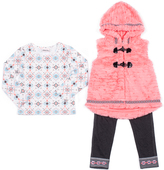 Little Lass Pink Salmon Faux Fur Vest Set - Toddler & Girls