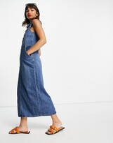 Thumbnail for your product : Lost Ink sleeveless maxi shirt dress in midwash denim