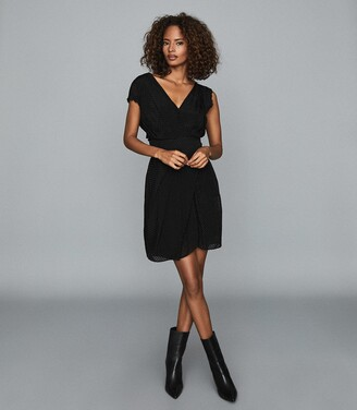 Reiss Leonora - Semi-sheer Wrap Front Dress in Black