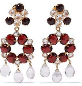 Bounkit Gold-Tone Garnet And Quartz Earrings