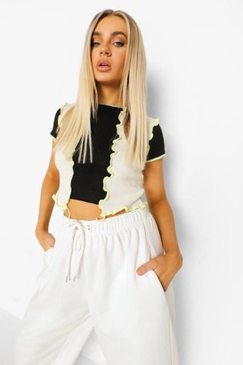 boohoo Rib Knit Contrast Seam Colour Block Crop Top