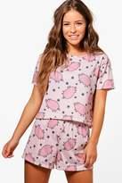 boohoo Petite Charlie Pig Print Pyjama Set