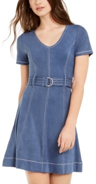 Planet Gold Derek Heart Juniors' Belted Faux-Suede A-Line Dress