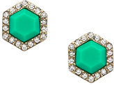 Blu Bijoux Teal Hexagon Crystal Stud Earrings