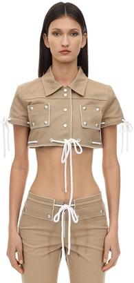 Courreges Cropped Cotton Jacket W/ Studs