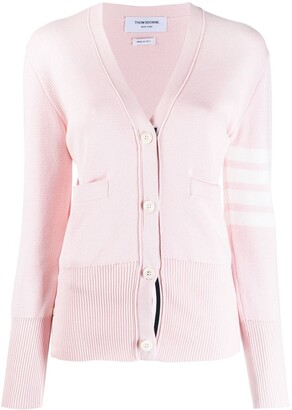 Thom Browne 4-bar milano stitch V-neck cardigan