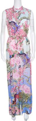 Mary Katrantzou Multicolor Printed Silk Sleeveless Belted Dress S