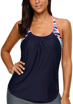 Zesica Women's Tankini Tops Navy - Navy & Light Blue T-Back Tankini Top - Women