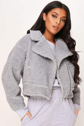 I SAW IT FIRST Light Grey Crop Borg Aviator Jacket