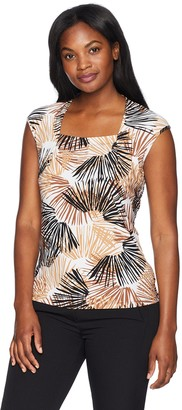 Kasper Women's Scattered Palms Printed Square Neck Extend Cap Sleeve ITY