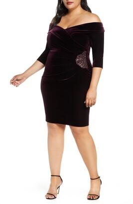 Alex Evenings Off-the-Shoulder Velvet Sheath Dress