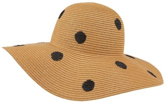 Accessorize Polka Dot Floppy Hat - Natural