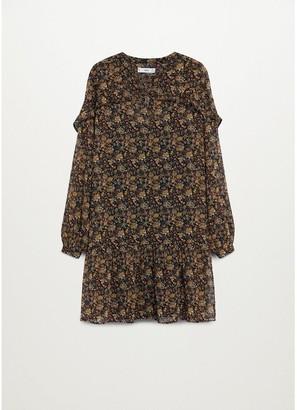 MANGO Vintage Floral Frill Dress - Brown