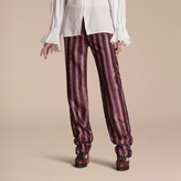 Burberry Panama Stripe Cotton Silk Satin Pyjama-style Trousers