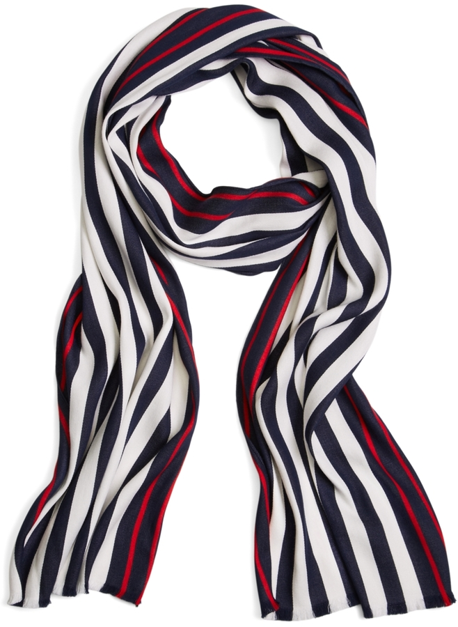 Brooks Brothers Bold Stripe Cotton Scarf