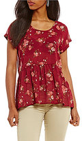 Jolt Floral Printed Lace-Up-Back Short Sleeve Peplum Top