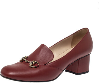 Gucci Burgundy Leather Horsebit Block Heel Loafer Pumps Size 39