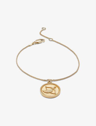 Rachel Jackson Zodiac Coin Sagittarius 22ct gold-plated sterling silver bracelet