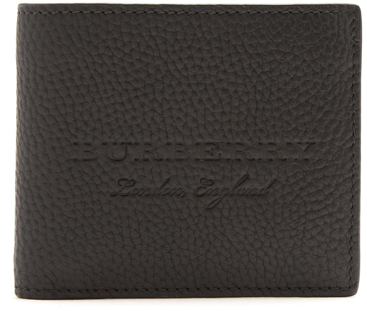 Burberry Logo-debossed grained-leather wallet